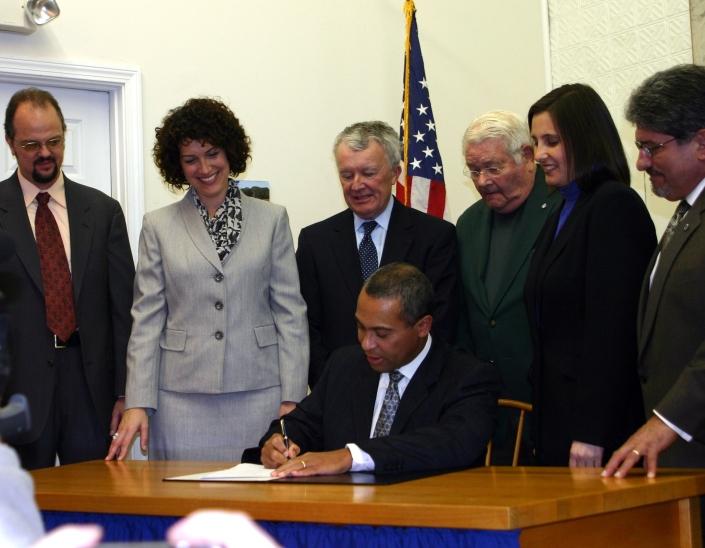 Gov. Patrick signing utility bill in Lunenburg