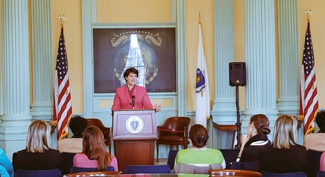 Speaking at an event celebrating Women's History Month at the State House.