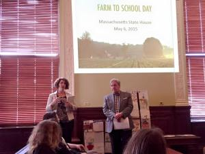 Rep. Benson speaking on her healthy school food legislation at Farm to School Day at the State House