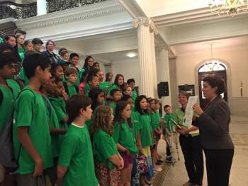 Presenting the Conant Elementary School Green Team with a citation honoring their work.