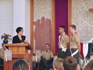 Speaking at the Eagle Scout Court of Honor for Liam Jones and Alejandro Zambrano in Acton.
