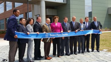 At the Bristol-Myers Squibb ribbon-cutting in Devens.