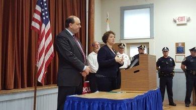With Senator Jamie Eldridge, speaking at the Boxborough Memorial Day ceremony.