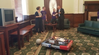 Driving the robot with Rep. Steve Hay.