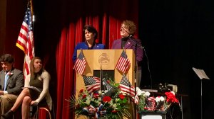 Speaking at the Ayer-Shirley High School Veterans Day program with State Rep. Sheila Harrington.