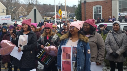 More than 400 people attended the Ayer Women's March.