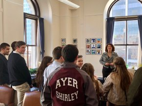 Speaking with Ayer Shirley Regional High School students